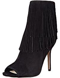 Sandale bottine Sam Edelman Arizona en daim noir avec franges