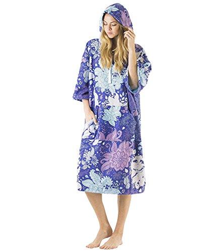 Vivida Lifestyle | Bedrucktes Kapuzen Poncho Handtuch mit Quickdry Fabric und Easy Underarm Access, Große Tasche mit Reisverschluss für den Strand, zum Surfen, Schwimmen & Triathlon (Blue Leaf, S/M)