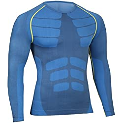 Bwiv Camiseta Hombre Deportiva Camiseta Compresión Hombre Manga Larga Fitness Gimnasio Aire Libre para Entrenamiento Ciclismo de Azul y Línea Amarillo Talla L