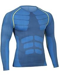 463b04bdf0 Bwiv Camiseta Hombre Deportiva Compresión Camiseta Interior Hombre Manga  Larga Fitness Gimnasio Aire Libre para Entrenamiento