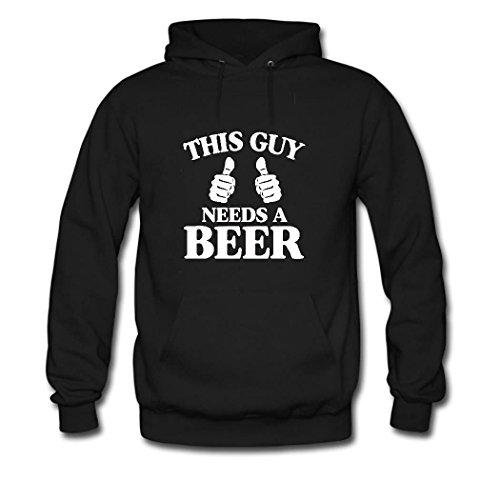 HKdiy This Guy Needs a Beer Custom Classic Men Hoodie Black-1