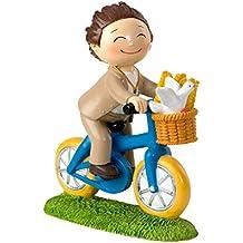 Mopec Figura de Pastel de Niño en Bicicleta, Poliresina, Marrón, ...
