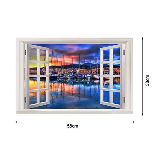 Zybnb Neue 3D Fenster Ansicht Wandaufkleber Sonnenuntergang Landschaft Strand Seite Stadt Aufkleber Vinyl Tapete Wohnkultur Wohnzimmer Poster
