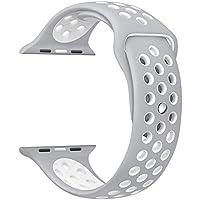 Gersymi, cinturino per Apple Watch, 42-38 mm, cinturino di ricambio sportivo in silicone, regolabile con fibbia e a sgancio rapido, per Apple Watch e iWatch serie 1/2 Edition, Silver+white