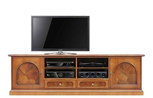 Mobile in legno per tv da salotto con inserti in radica, direttamente dal produttore, realizzato in italia, 2 robusti cassetti con guide in legno, lucidato con tinta a base d'acqua. largh. 2m
