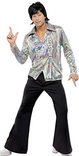 Retro Kostüme (Smiffys, Herren 70er Retro Kostüm, Hemd und Schlaghose, Größe: L,)
