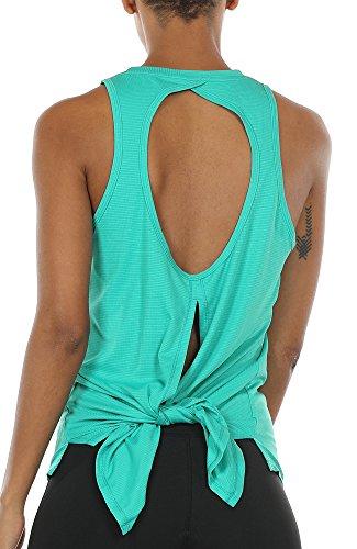 icyzone Rückenfrei Sport Top Damen Lang - Casual Bluse Oberteil Fitness Yoga T-Shirt (M, Florida Keys) - Florida-t-shirts