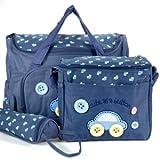 4tlg. Wickeltasche Babytasche Pflegetasche Reisetasche Baby Dunkelblau inkl. Wickelunterlage und Flaschenhalter