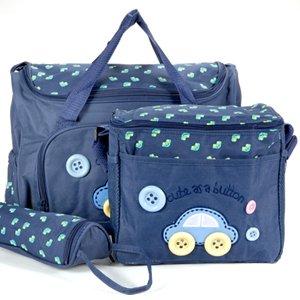 lot-4pcs-sac-a-langer-bleu-fonce-bebe-maman-promenade-voyage