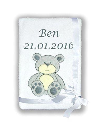 Babydecke SUPER FLAUSCHIG mit Namen und Datum bestickt Kinderdecke (B7) ()