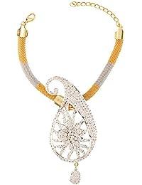 Sri Shringarr Fashion Fancy Micro Gold Polished American Diamond Bajubandh/Armlet - (BB107ON)