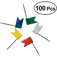 NUOLUX 100Pcs Map Flag Marking Flags Push Pins marcado tachuelas para la oficina en casa de la escuela, 5 colores