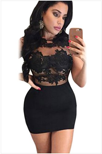 meinice applique in pizzo Bodycon Mini vestito Black