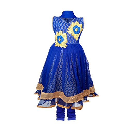 JBN Creation Girls Blue Kurti And Leggings Set With Gold Floral Embroidery...
