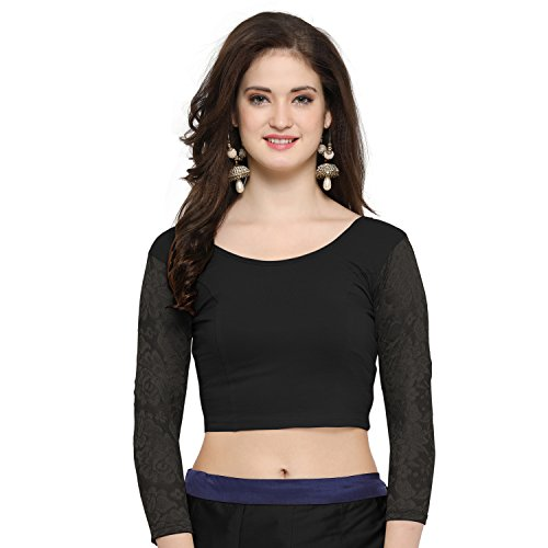 Janasya Women\'s Cotton Lycra Stretchable Readymade Blouse (BL025-74BLACK)