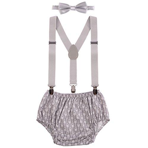 Geburtstag Outfit Neugeborenen Kinder Bloomer Shorts + Fliege + Clip-on Hosenträger 3pcs Bekleidungssets für Foto-Shooting Kostüm für Säugling Jungen Mädchen Unisex 3-24 Monate ()
