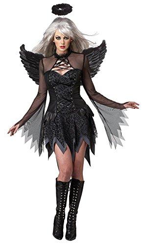 Disfraz Ángel Negro Halloween Costume Disfraces Mujer Negro con Cosplay Vestido, Alas, Aureola, Calcetines ( X-Large )