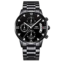 Wyenliz Original Men's Watch Fashion Multifunction Personality Leisure Date Stainless Steel Strap Waterproof Analog Quartz Gift Watch