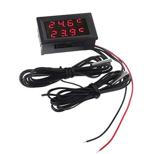 zijianZZJ Thermomètre numérique à Double Affichage avec 2 sondes en métal étanche NTC