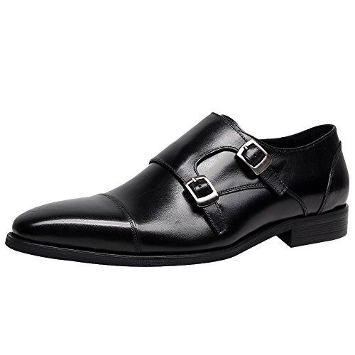 Jamron Hombres Gama Alta Piel Genuina Dedo del Pie Cuadrado Zapatos de Vestir de Negocios Clásico Doble Correa de Monje Oxfords Zapatos Negro SN01717 EU42