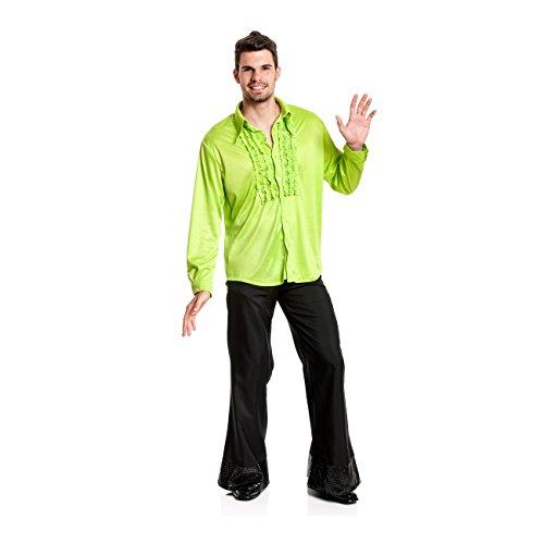 Kostümplanet® Rüschenhemd grün Herren Rüschen-Hemd 70er Jahre Größe 48/50