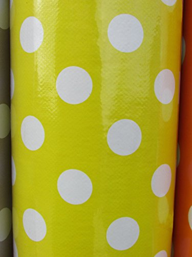 Yellow Dot PVC Vinyl PVC Tablecloth Easy Wipe Clean POLKA DOT Spot Patio Oilcloth 140cm Wide and 1/4 Quarter Metre of Length