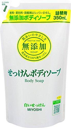 Miyoshi Soap | Body Shampoo | Additive Free White Soap Refill 350ml (japan import)