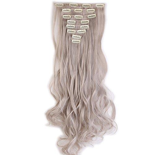 Extension clip capelli grigio +sintetici mossi lunghi 24 pollici 60cm full head hair extension 8 ciocche