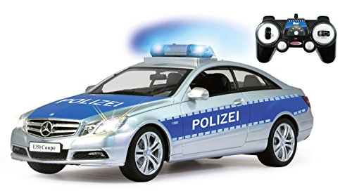 Jamara 410023 - Mercedes E350 Coupe 1:16 Polizei 2,4GHz - deutsche Polizeisirene, Alarmanlage, Startton, Beschleunigungston, Bremston, Hupe, Zusperrton, Signalleuchte, Blinker, 4 Geschwindigkeiten