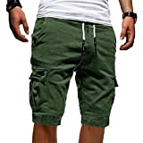 Onsoyours Herren Bermuda Shorts Herren Sport Shorts Freizeithose Kurze Hosen Cargohose Grün X-Large