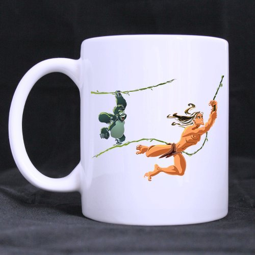 Cute Monkey Tarzan Individuelle Personalisierte Kaffee Becher Bier Tasse Weiß Keramik Wasser Tassen Büro Home Cup 11Oz Zwei Seiten bedruckt