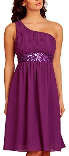 My Evening Dress- Robe de Cocktail et de Soirée à Une Epaule Pailletée Violet - Purple Magenta