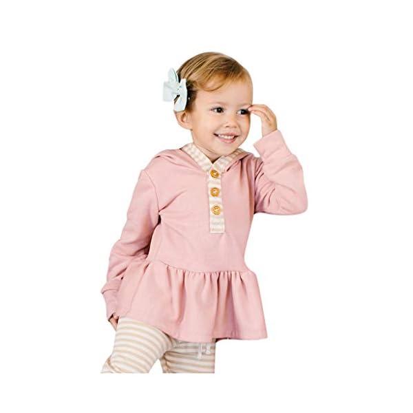 Body para bebés y niños pequeños Tops de Volantes sólidos con Capucha para bebés y niños pequeños + Pantalones de Rayas… 1
