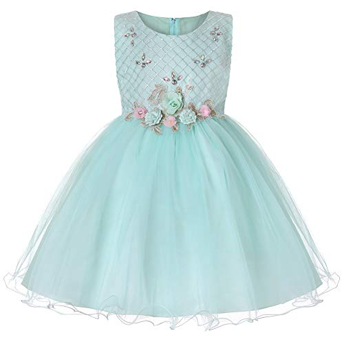 BaiXia Formale Abend Hochzeits Kleid Ballettröckchen Prinzessin Dress Flower Girls Kids Party für Mädchen kleidet Pettiskirt mit Diamanten Türkis 14