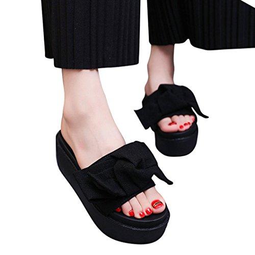 Transer® Damen Flach Slipper PU-Leder+Gummi Schwarz Grün Rot Rosa Bogen Plattform Hausschuhe Schwarz