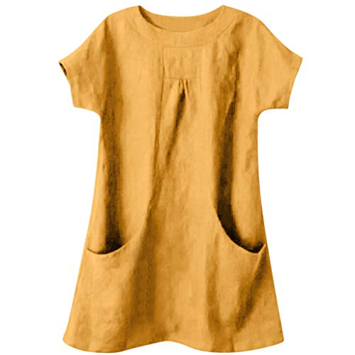 Geilisungren Damen Rundhalsausschnitt Kurzarm T-Shirt Casual Taschen Bluse Frauen Vintage Baumwolle Leinen Tunika Tops Lose Große Größen Oberteile -