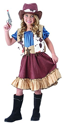 Kostüme Hut Western Cowboy (Cowgirl Kostüm Kinder - komplettes schickes Cowboy Western Kostüm Mädchen - Cowgirl Kleid mit)