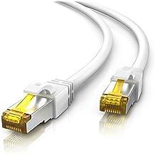 10m Cable de red Gigabit Ethernet Lan CAT.7 (RJ45) | 10/100/1000Mbit/s | Cable de conexión a red | S/FTP | Compatible con CAT.5 / CAT.5e / CAT.6 | Conmutador/router/módem/panel de conexiones/punto de acceso/campos de conexión | blanco
