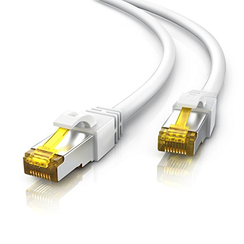 Primewire - 10m - CAT 7 Netzwerkkabel Gigabit Ethernet Lan (RJ45) | 10/100/1000Mbit/s | Patchkabel | S/FTP PIMF Schirmung | kompatibel zu CAT.5 / CAT.5e / CAT.6 | Switch/Router/Modem/Patchpannel/Access Point/Patchfelder | weiß
