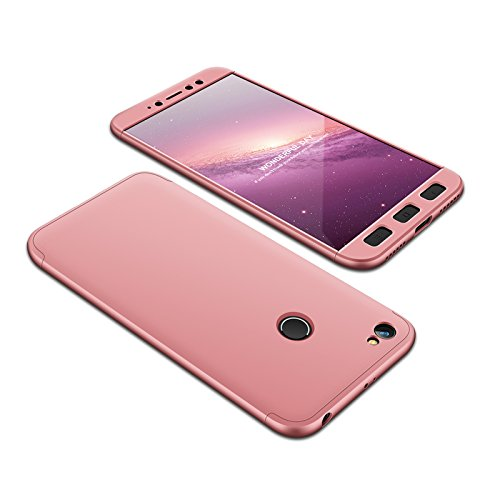 Compatible Xiaomi Redmi Note 5A Prime Funda(2018)Carcasa 360° ultra fina Protectora cojín+Vidrio Templado Pantalla Protector,3 in 1 PC Hard Caja Caso Skin Case Cover Carcasa para 5A Prime Oro Rosa