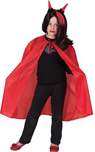 Kostüm Kinder Horror Umhang Dracula Teufelsumhang Vampirumhang rot Halloween 128 (Günstige Kreative Halloween Kostüme)