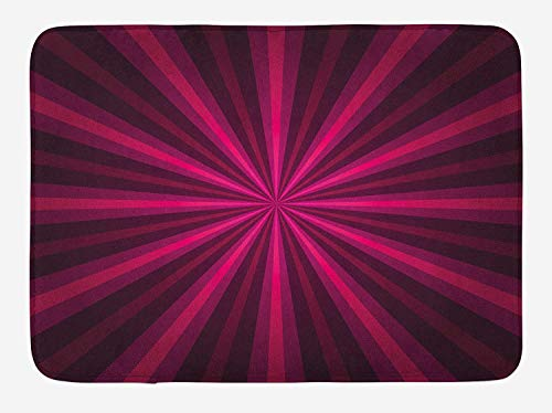 BBABYY Hot Pink Bath Mat, Abstract Starburst Design Radial Lines Vibrant Colored Beams Futuristic, Plush Bathroom Decor Mat with Non Slip Backing, 23.6 W X 15.7 W Inches, Pink Fuchsia Purple (X-amp Radial)
