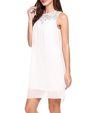 Beyove Sommerkleid Damen Elegant Kurz Chiffonkleid Casual Abendkleid mit Spitze Partykleid Sexy Hochzeit Strand