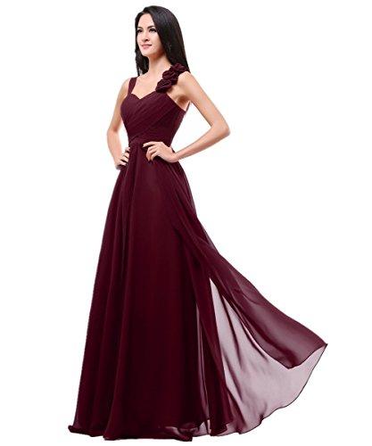 XIAOMING Damen Chiffon Blumen Brautjunfernkleider Abendkleider Lange Burgundy 44