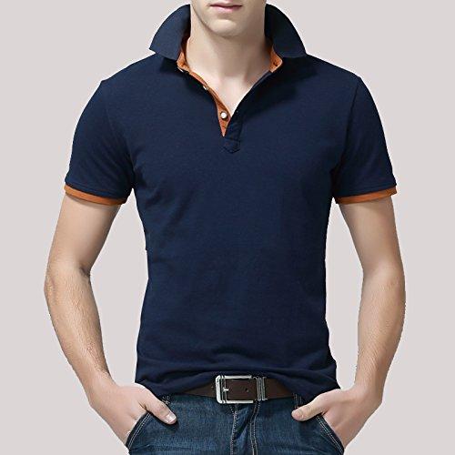 Demarkt Herren Poloshirt Polohemd T-Shirts für Sport Freizeit und Arbeit Schwarz und Orange 4XL Schwarz und Orange x 3XL