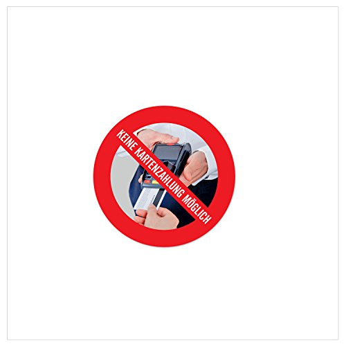Nur Barzahlung - Keine EC- Kartenzahlung möglich | 5x Aufkleber, rund d: 4cm | witterungsbeständig & langlebig