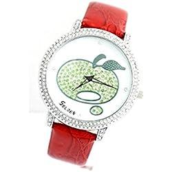 Selden - Montre Femme Bracelet Cuir Rouge Pomme 455