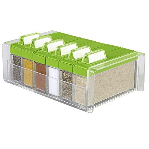 Emsa 508458 Gewürz-Kartei, 6 Gewürze, 0.075 Liter, Grün/Transparent, Spice Box (Schublade-tool-box)