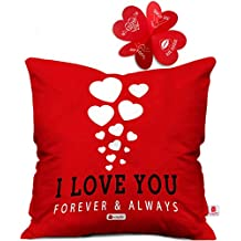 Indigifts Poly Satin Heart Printed Cushion Cover(Red, 16x16-inch)