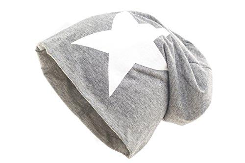 Shenky - cappello per soggetti con perdita di capelli o in terapia - grigio con stella bianca